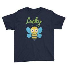 Lucky Bee Shirt Kids Boys Girls Emoji Shirt Youth Short #luckyshirt #luckybee #luckyb #kidsshirt