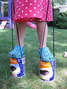 23 Incredibly Fun Outdoor Crafts for Kids - DIY Joy DIY Kids Crafts for Outdoors Fun - DIY Upcycled Can Stilts - DIY Projects & Crafts by DIY JOY Really want fantastic hints concerning arts and crafts? Head to my amazing info! Craft Activities For Kids, Diy Crafts For Kids, Projects For Kids, Fun Crafts, Craft Ideas, Kids Diy, Craft Projects, Kids Outdoor Crafts, Fun Ideas