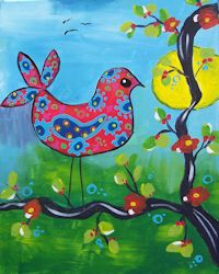 Whimsy's Bird at www.whimsyartstudio.com a Paint and Sip painting class
