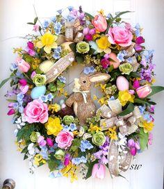 Easter Wreath Spring Garden Wreath-Raz by SeasonalWreaths on Etsy