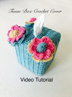 Crochet Tissue Box Cover Video tutorial By AnnooCrochet Designs