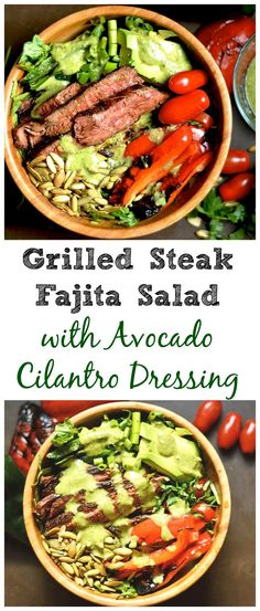 All Things Savory: Grilled Fajita Steak Salad with Avocado Cilantro D...