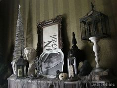 Halloween Black & WHite - mantle display idea (and lots of other cool table decor ideas in this post) from Let It Shine