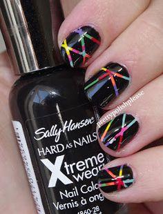 Rainbow striping tape nail art <3