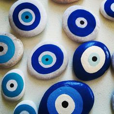Almost done of a new order of evil eye pebbles! Eye Painting, Pebble Painting, Pebble Art, Stone Painting, Evil Eye Art, Greek Crafts, Painted Rocks, Hand Painted, Evil Eye Jewelry