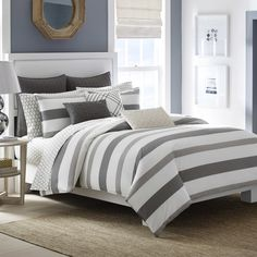 Nautica Chatfield Comforter and Duvet Cover Sets - Bedding Collections Macy's -- gray white stripe bedding geometric preppy Queen Comforter Sets, Duvet Sets, Duvet Cover Sets, King Duvet, Twin Comforter, Queen Duvet, Echo Bedding, Sheets Bedding, Bedrooms