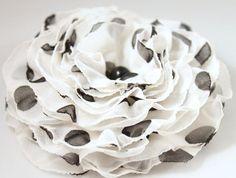 Black white brooch polka dot veil flower  OOAK  by CrystalHandmade, $14.00