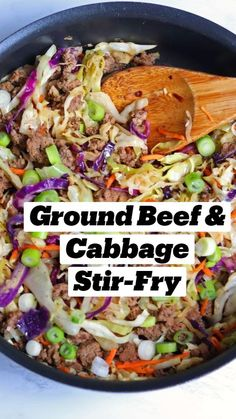 Ground Beef Recipes For Dinner, Healthy Dinner Recipes, Healthy Cabbage Recipes, Healthy Crockpot Dinners, Cabbage Meals, Healthy Beef And Broccoli, Healthy Hamburger, Healthy Chinese Recipes, Cabbage Stir Fry