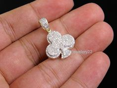 Mens Yellow Gold Plated Clover Club flower Round Lab Diamond Charm Pendant #giftjewelry22 #Pendant