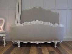 Vintage french demicorbeille bed in Sarah Hardaker aix linen