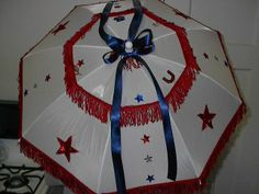 "34"" NYLON PATROITIC PARASOL MEMORIAL DAY-JULY 4th PARADE/CELEBRATION DECOR. #PARASOLSbyRochelle"