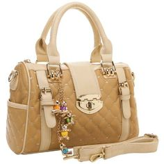 KARASI Dual-tone Beige Diamond Quilted Turn-lock Bowling Style Handbag Satchel Purse Shoulder Bag