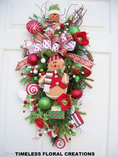 Items similar to Christmas wreath. For those wanting something different for their front door. Gingerbread Christmas Decor, Gingerbread Decorations, Christmas Swags, Christmas Love, Holiday Wreaths, All Things Christmas, Holiday Crafts, Christmas Decorations, Christmas Ornaments