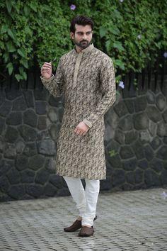 Printed Cotton Kurta Set in Beige and Black Indian Groom Dress, Kids Party Wear, Mens Kurta Designs, Wedding Men, Wedding Dress, How To Dye Fabric, Festival Wear, Printed Cotton, Normcore