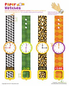 Worksheets: Practice Telling Time with Play Watches: 12:00, 15:15, 12:30, & 12:45