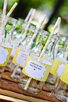 love the labels wrapped around the bottles with paper straws