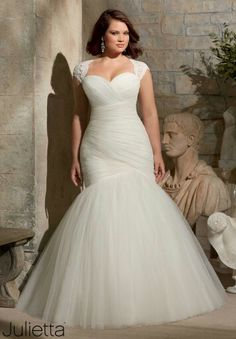 Plus size ruched mermaid wedding dress with lace cap sleeves