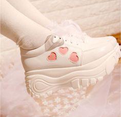 Japanese kawaii heart lace platform shoes sold by Fashion Kawaii [Japan & Korea]. Shop more products from Fashion Kawaii [Japan & Korea] on Storenvy, the home of independent small businesses all over the world. Estilo Harajuku, Harajuku Mode, Harajuku Fashion, Harajuku Japan, Sock Shoes, Cute Shoes, Me Too Shoes, Cute Princess, Princess Shoes