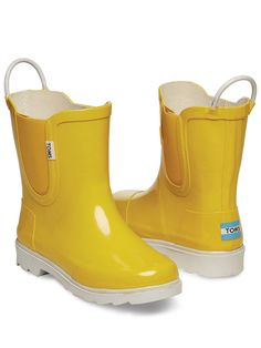 Yellow White Tiny TOMS Rain Boots | TOMS | Max's Wishlist ...