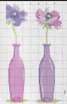 3 flowers in bottles Cross Stitch Boards, Cross Stitch Heart, Cross Stitch Flowers, Cross Stitching, Cross Stitch Embroidery, Cross Stitch Patterns, Stitches Wow, Purple Vase, Happy Birthday Son