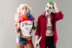 Save this DIY couples Halloween costume to learn how to become the Joker + Harley Quinn from Suicide Squad.