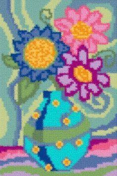 Latch Hook Rug Pattern Chart: FUNKY FLOWERS - EMAIL2u