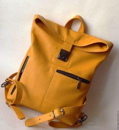 Купить Amazonia Горчичная сумочка-рюкзачок из кожи - сумка ручной работы, сумка женская