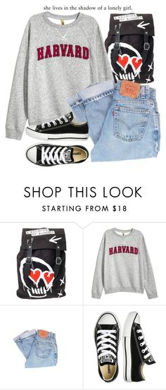 """""""She lives in the shadow of a lonely girl"""" by rusher-decorazon on Polyvore featuring moda, Levi's y Converse"""