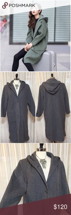 💟Gray Hooded wool cashmere trench coat Size large. Seems to fit true to size. Lined. Button front. Rear splits. Two front pockets with button enclosure. (Model pic is not exact coat- just similar so you can see fit/style). EUC  💟Fast 1-2 day shipping 💟Reasonable offers accepted 💟Purchase 3 or more items & get a special bundle rate!  💟Smoke-free home Joy Party Jackets & Coats Trench Coats