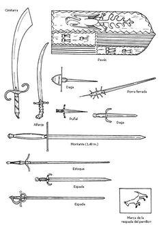 La armadura y las armas. Armas blancas.