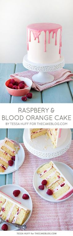 love the perfectly drippy pink glaze | Raspberry  Blood Orange Cake | Recipe by Tessa Huff for TheCakeBlog.com
