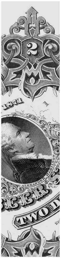 Detail from the 1871 Alexander Hamilton beer stamp. The original size is 2 3/4 x 2 3/4 in. (7 x 7 cm)