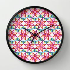 DIAMOND NEON PINK Wall Clock by kind of style