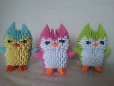 How to make 3d origami little owl - YouTube