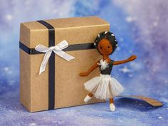 Charming Needle Felted Brooch Doll  Black Ballet Dancer in