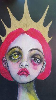 Mini Print of a mixed media original painting. The crown, Sad girl art. Sad Girl Art, Sad Girl Drawing, Dark Art Drawings, Drawing Art, Arte Obscura, Hippie Art, Arte Pop, Weird Art, Psychedelic Art