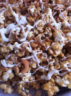 White Chocolate Cashew Caramel Popcorn