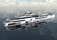 INES is a luxury superyacht by Spanish yacht designer Alvaro Aparicio de Leon. This yacht concept has two helicopter landing pads. Luxury Yachts For Sale, Yacht For Sale, Big Yachts, Super Yachts, Bateau Yacht, Explorer Yacht, Yacht World, Yacht Design, Catamaran