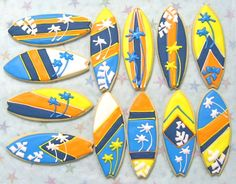 Reserved for Kathy----Surfboard Cookies - Surfboard Cookie Favors - Decorated Cookies - 1 Dozen via Etsy