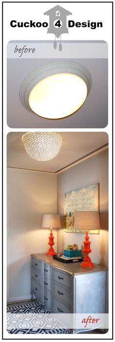 From bowl to light fixture http://cuckoo4design.blogspot.com/2012/09/homegoods-clearance-bowl-as-diy-ceiling.html