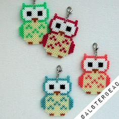 Owl charms hama mini beads by alsterbead