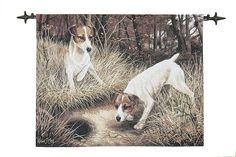 Jack Russells - Fine Woven Tapestry Wallhanging Fine Woven Tapestry Wallhanging adds a focal centerpiece to any room The Country Collection of Fine