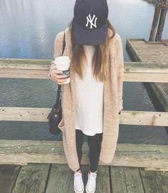 ny baseball cap + long line sweater Baseball Game Outfits, Baseball Cap Outfit, Baseball Caps, Baseball Season, Baseball Socks, Baseball Lineup, Baseball Injuries, Baseball Memes, Baseball Videos