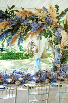 Pampas grass wedding trend that came from the seventies is appropriate for your wedding! We consider best decor ideas in our gallery. Blue And White Wedding Themes, French Blue Wedding, Blue Wedding Flowers, Colored Wedding Dresses, Wedding Colors, Destination Wedding Planner, Romantic Weddings, Blue Weddings, Wedding Centerpieces
