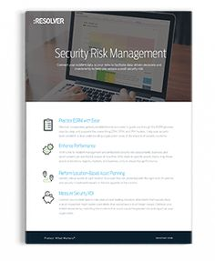 Security Risk Management Product Sheet   Resolver Corporate Security, Risk Management, Learning, Studying, Teaching, Onderwijs