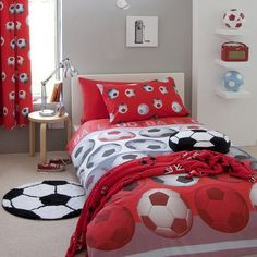 Football Duvet Cover And Pillowcases in Red and Black Shop now >> https://chicathome.com/bedding/childrens-bedding/football-duvet-cover-and-pillowcases-in-red-and-black/