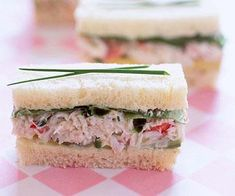 Crab, Avocado, and Watercress Sandwiches: Can Be Made Ahead For Appetizers. No Watercress? Tea Party Sandwiches, Finger Sandwiches, Salad Sandwich, Watercress Salad, Cucumber Salad, Tapas, Healthy Afternoon Snacks, Cream Tea, Appetizers