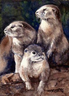 ACEO Original Painting Three Otters wildlife river animals gray rocks den marine #Impressionism