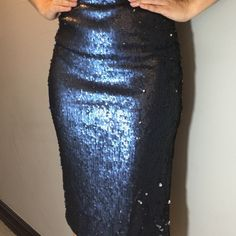 Side slit midi sparkle skirt Amazing spangle detail side slit midi skirt. Fully Lined. 100% polyester. Navy Lewboutiquetwo Skirts Midi