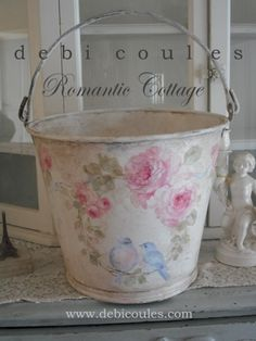DIY Shabby  Chic Romantic Bucket Inspiration..(so easy & cheaper to create yourself simply using  wallpaper &  mod podge ! )